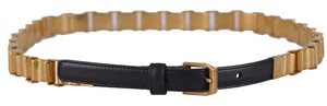 Saint Laurent New Saint Laurent YSL Women's 328566 Leather and Aged Brass Chain Belt L