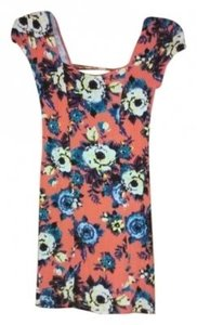 Free People short dress Orange floral on Tradesy
