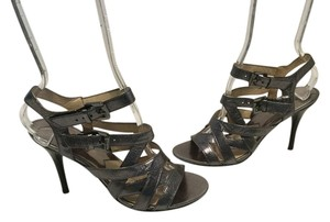 MICHAEL Michael Kors Ankle & Foot Straps Jewelled Buckles Pewter metallic leather Sandals