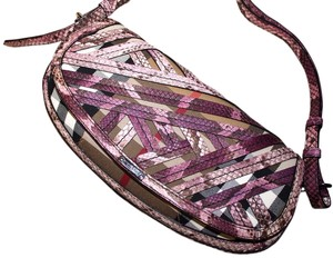 Burberry Leather Python Purple Shoulder Bag