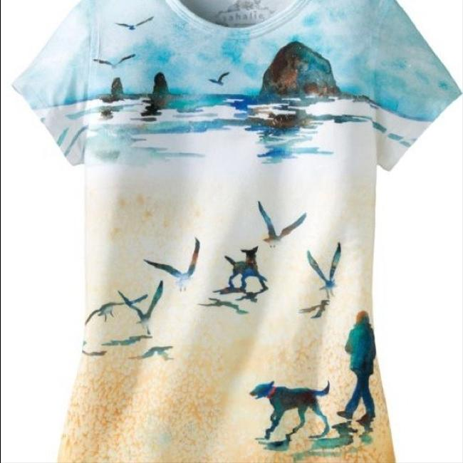 sahalie Beach Summer Cool Graphic Print T Shirt