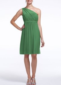 David's Bridal Clover One Shoulder Short Dress With Illusion Neckline Dress Dress