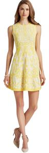 Shoshanna short dress Yellow and White Summer Sleeveless Fit Flare on Tradesy