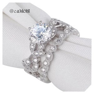 New Pave 50 AAA CZ Stones 2pc .925 Sterling Silver Wedding Engagement Ring Set