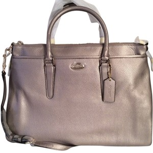 Coach Pebble Leather Satchel in Light Gold Metallic