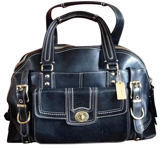 Coach Hampton Miranda Leather Satchel in Black
