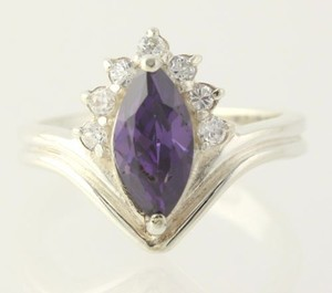 Purple Cz Clear Cz Cocktail Ring - 925 Sterling Silver Band Womens Estate