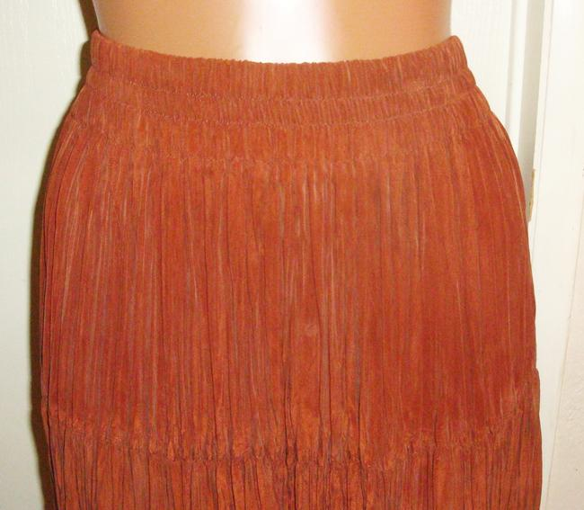 Longhorn Tiered Mid-calf Cowgirl Broomstick Skirt Rusty Brown