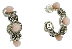 Other Sterling Filigree Hoop Earrings with Pink Roses