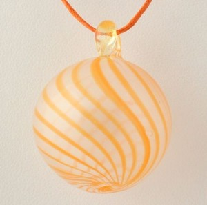 Glass Pendant W Chord Necklace - 925 Sterling Silver Clasp Orange Womens