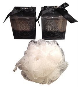 Kate Aspen Votives & Body Pouf Set; Black & White: Fleur de lis Romance - [ Roxanne Anjou Closet ]