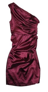 London Times One Shoulder Satin Ruching Dress