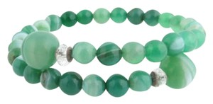 Green Glass Bead Bracelet - Fashion Jewelry Rhinestone Coil Bangle 6 Womens