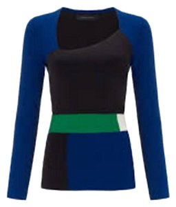 Roland Mouret Structured Color Block Top Blue, black, white and green