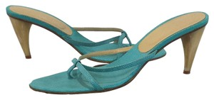 Alexander McQueen Kitten Heels Light Teal/Ivory Sandals