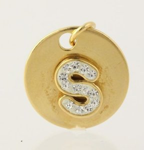 Initial Charm - Rhinestones Letter Pendant Gold Plated Sterling Silver 925