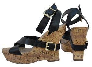 Jessica Simpson black/cork Platforms
