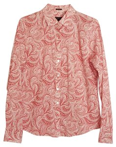 Talbots Paisley Button Front Button Down Shirt red and white
