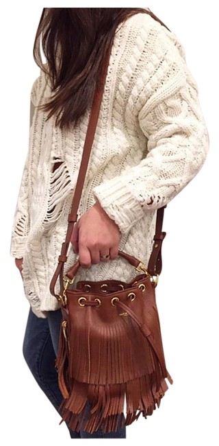 Item - Emmanuelle Bucket Fringe Brown Leather Cross Body Bag