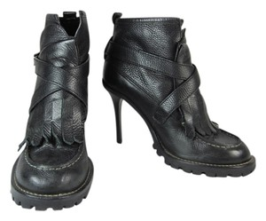 Tory Burch Logo Leather Moto Ankle Black Boots