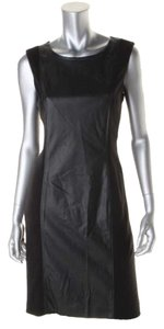 Anne Klein Faux Leather Contrast Dress