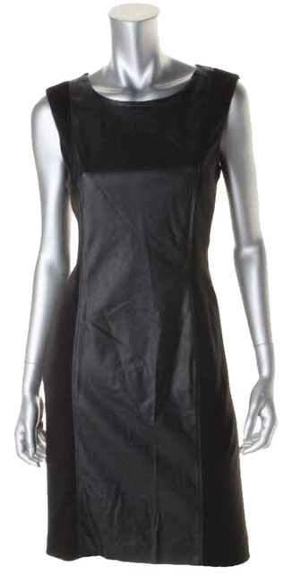 Preload https://img-static.tradesy.com/item/1361815/anne-klein-black-faux-leather-contrast-knee-length-night-out-dress-size-12-l-0-0-650-650.jpg