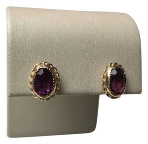 Bloomingdale's AUTHENTIC 14K GOLD AND AMETHYST EARRINGS