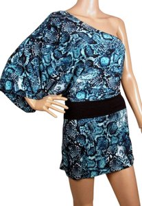 BCBGMAXAZRIA Surf Combo Snake One Asymetrical Dress