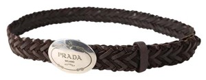 Prada Prada Brown Woven Leather Belt - Size 90cm/ 36 inches