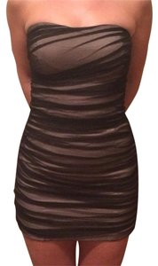 A|X Armani Exchange Tube Strapless Zipper Bodycon Mesh Dress