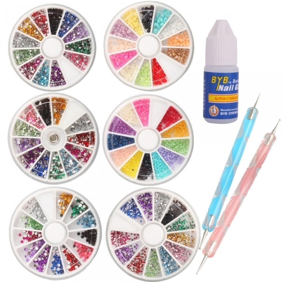 Multicolor 9pc nail art kit dotting tools glue 6 wheels of multicolor 9pc nail art kit dotting tools glue 6 wheels of various stones tradesy prinsesfo Image collections