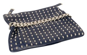 Thomas Wylde Barolo Lambskin Leather Skull Blue Clutch