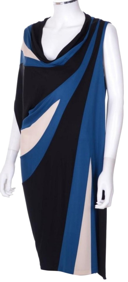 2becb78d3873 Jean-Paul Gaultier Royal Blue and Black Geometric Colorblock Draped Casual  Dress
