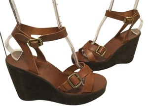 Miu Miu All Leather Italian Emblem Buckles E38 Brown Wedges