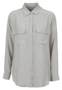 Equipment Silk Pocket Top Grey