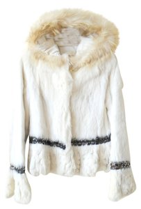 Handmade Real Rabbit Fur White Leather Jacket