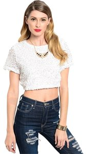 GlitterBuzzStyle Crop Sequin Sparkle Spring Summer Top White