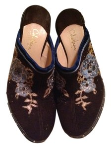 Cole Haan Embrodiered Leather Suede Studded Suede Brown Mules