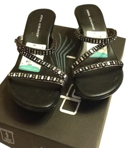 Athena Alexander Dressy Straps Sandals Professional Attractive Black/Silver sequins Formal