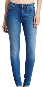 Mother Highwaist Denium Brand Skinny Jeans-Medium Wash