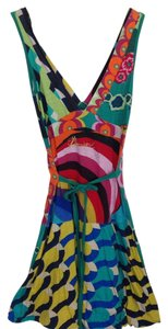 Desigual short dress Green,Magenta,Yellow Colorful Halter Sexy on Tradesy