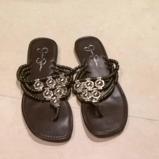 Jessica Simpson Brown And Silver Sandals