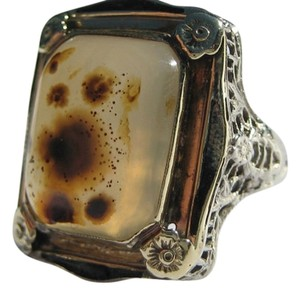 Antique Estate Gothic Victorian 10.00 cts Large Agate 14K Gold Enamelled Filigree Ring