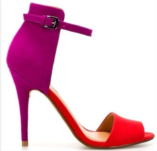 Zara Colorblock Suede Red Fuchsia Purple Sandals