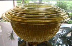 Vintage Federal Glass Golden Glo Amber Mixing Bowls Set Of 6