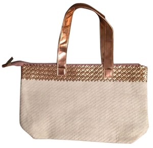 Elizabeth Arden Canvas Tote in White and Gold