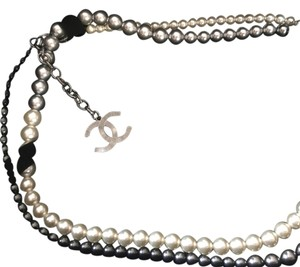 Chanel 3 Color, White Gray And Black , Faux Pearl Long Necklace
