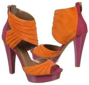Fergie Suede Pantent Leather Pink & Orange Sandals