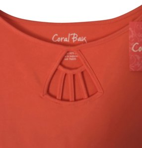 Coral Bay 60% Cotton 40% Polyester Comfortable Soft Fabric T Shirt NWT-ORANGE