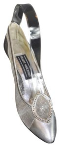 Stuart Weitzman Mesh And Leather Silver Pumps